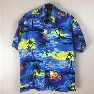 Palmwave Hawaiian Aloha blue shirt XL